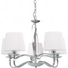 Lámpara de Techo DETROIT 5xE14 Al.Reg.xD.60cm Cromo/Blanco