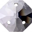 Crystal octagon stone D.1,6cm 3 holes transparent (Box)
