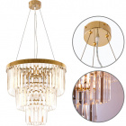 Ceiling Lamp OLFUS 5xE14 H.42xD.45cm with transparent cristals and gold plate