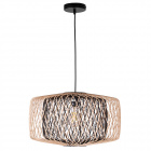 Pendant light BAMBOO D.49cm 1xE27 in black and natural bamboo