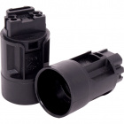 Black E14 2-pieces candle lampholder Ø24mm w/metal brackets or snap-on domes, in thermoplastic resin