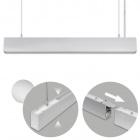 Suspending Light LINEX B2 120cm 1x40W LED+1x16W LED 3200lm 6400K 110° L.118xW.4xH.Reg.cm Aluminium