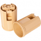 Gold E14 2-pieces lampholder with threaded outer shell, in thermoplastic resin