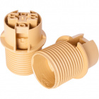 Gold E14 2-pieces lampholder with half threaded outer shell, in thermoplastic resin