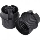 Portalámparas E27 termoplastico negro 2 piezas negro liso semiroscado