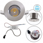 Downlight DENI round fixed 1W LED 80lm 4000K H.0,3xD.3cm Satin Nickel