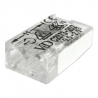 Transparent/white compact screwless connector for rigid cable 2 0,5-2,5mm
