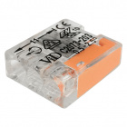 Transparent/orange compact screwless connector for rigid cable 3