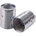 White zinc-plated threaded outer shell for 3-pieces metal lampholder, in metal