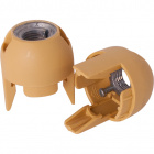 Gold dome for E14 2-pc lampholder with metal nipple M10 and stem locking screw, thermoplastic resin
