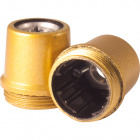 Gold dome for E14 3-pc lampholder with metal nipple M10 and stem locking screw, H.21mm, in bakelite