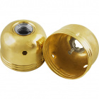 Capuchón latonado p/portalámparas metalico E27 de 3 piezas c/racor metalico roscado M10 y tornillo
