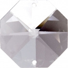 Crystal octagon stone D.1,4cm 2 holes transparent (Box)