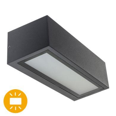 Aplique CORGO IP54 1xE27 L.26xAn.10,6xAl.8cm Aluminio+Vidrio Antracita