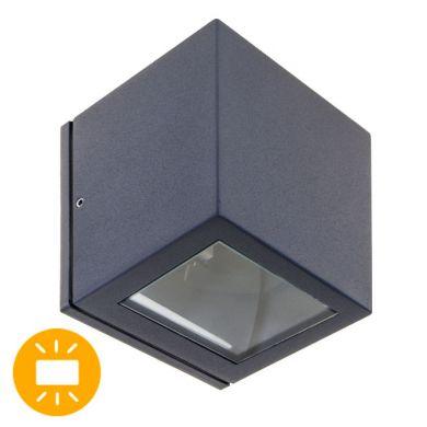 Aplique CAVALUM IP54 1xG9 L.9xAn.9xAl.9,5cm Aluminio+Vidrio Antracita