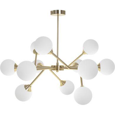 Candeeiro de tecto ANALU 12xG9 Alt.56xD.70cm Dourado/Branco