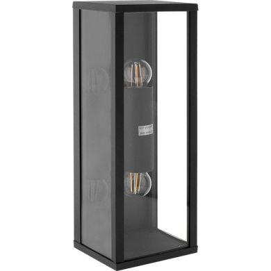 Aplique NOZELO IP44 2xE27 L.14xAn.11,5xAl.38cm Aluminio+Vidrio Antracita