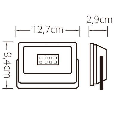Proyector TUMUT IP65 30W LED 2250lm 6400K C.16,7xL.2,9xA.12,0cm Negro