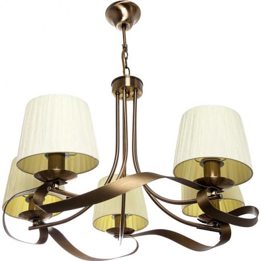 Lámpara de Techo CLEVELAND 5xE14 Al.Reg.xD.60cm Cuero/Beije