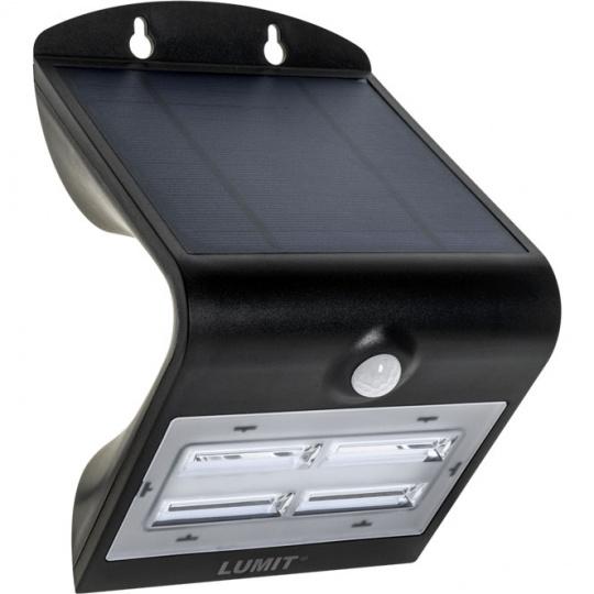Aplique Solar SOLARIS IP65 1x3,2W LED+1xLED 400lm 6000K L.14xAn.11xAl.21cm Negro