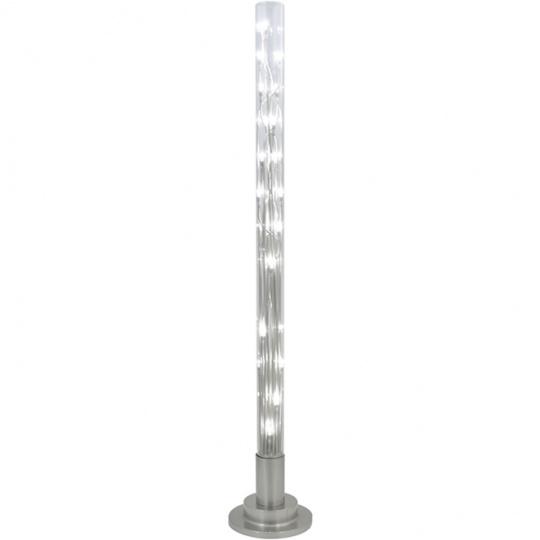 Candeeiro de pé MÁRCIA 24xG4 12V Alt.151xD.26cm Metal+Vidro Transparente/Níquel