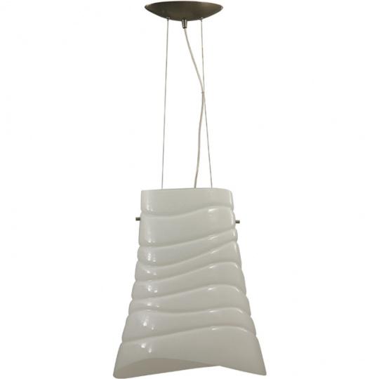 Pendant Light ILDA 1xE27 L.37xW.23xH.Reg.cm Metal+Glass White/Satin Nickel